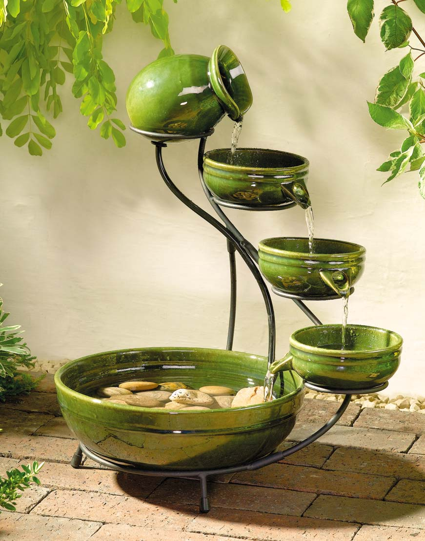 solar fountains indoor outdoor cascading solar powered bowl